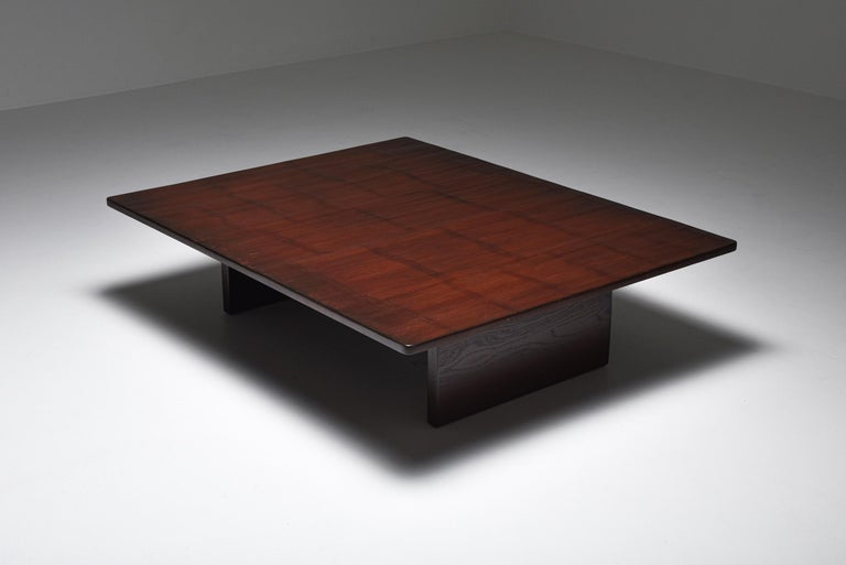 Axel Vervoordt Stained Oak and Bamboo Coffee Table, 1980s In Excellent Condition For Sale In Antwerp, BE