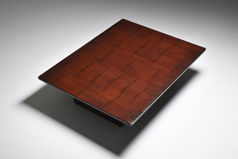 20th Century Axel Vervoordt Stained Oak and Bamboo Coffee Table, 1980s For Sale