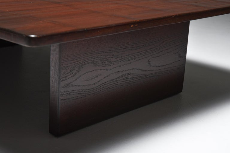 Axel Vervoordt Stained Oak and Bamboo Coffee Table, 1980s For Sale 1
