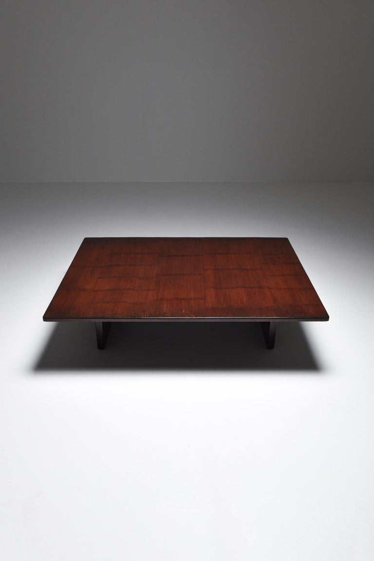 Axel Vervoordt Stained Oak and Bamboo Coffee Table, 1980s For Sale 3