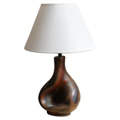 Axella, Organic Table Lamp, Glazed and Painted Stoneware, Linen, Denmark, 1960s