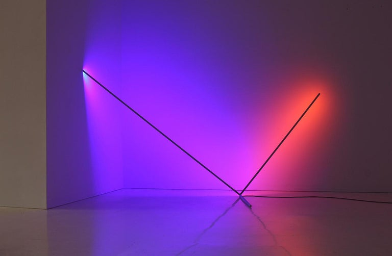 American Axes, Sanblasted Aluminum and LED Minimal Geometric Light Sculpture For Sale