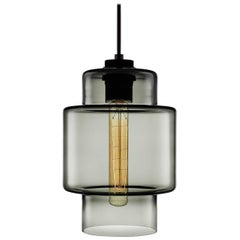 Axia Gray Handblown Modern Glass Pendant Light, Made in the USA