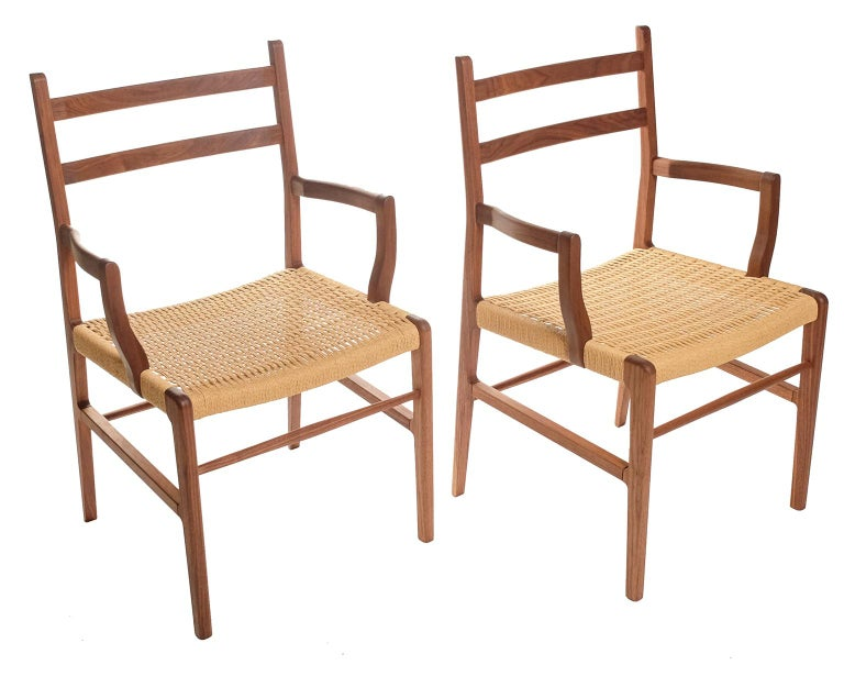 Axis Dining Armchair or Side Chair in Walnut and Danish Cord For Sale 3
