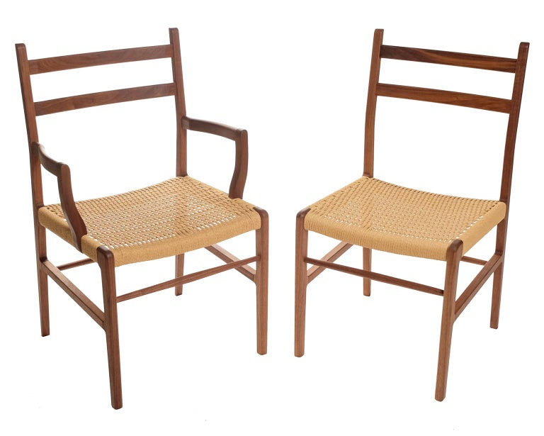 Axis Dining Armchair or Side Chair in Walnut and Danish Cord For Sale 4