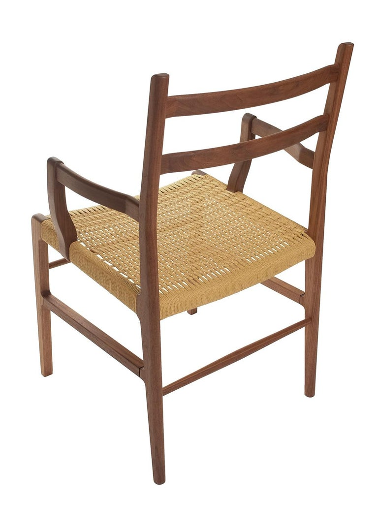 Mid-Century Modern Axis Dining Armchair or Side Chair in Walnut and Danish Cord For Sale
