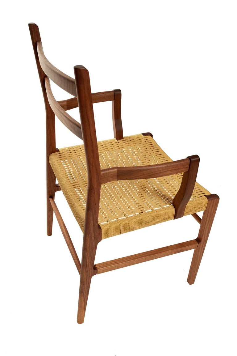 American Axis Dining Armchair or Side Chair in Walnut and Danish Cord For Sale