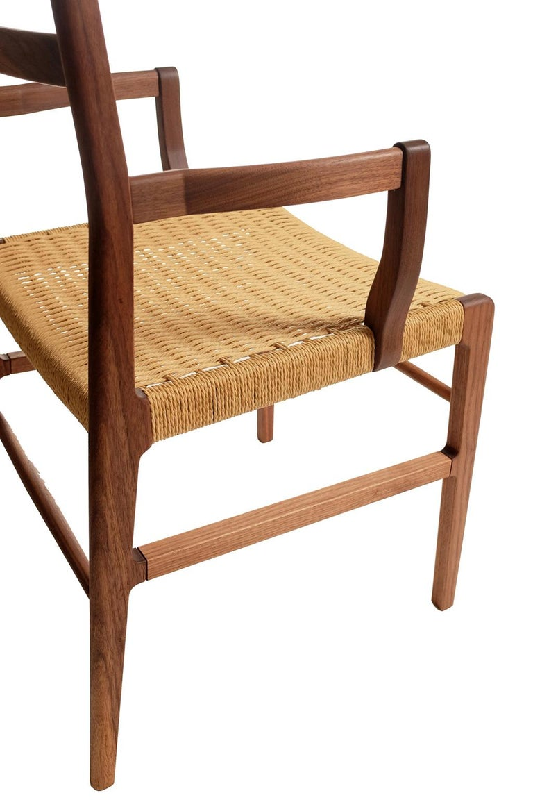 Hand-Crafted Axis Dining Armchair or Side Chair in Walnut and Danish Cord For Sale