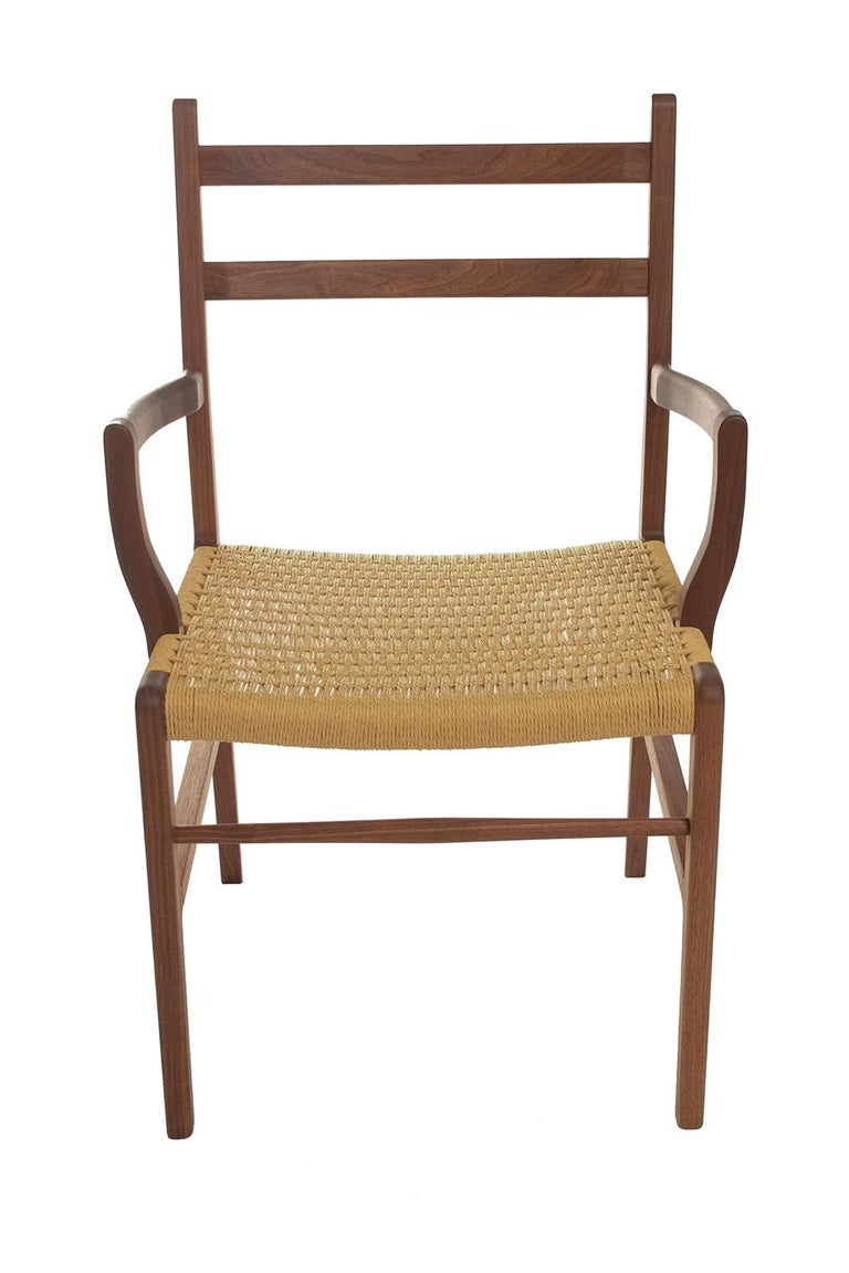 Contemporary Axis Dining Armchair or Side Chair in Walnut and Danish Cord For Sale