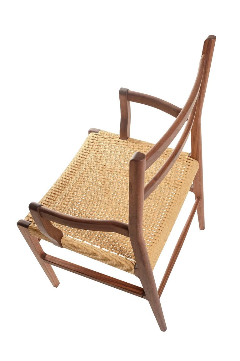 Axis Dining Armchair or Side Chair in Walnut and Danish Cord For Sale 1