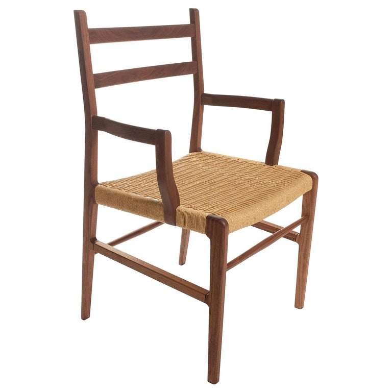 Axis Dining Armchair or Side Chair in Walnut and Danish Cord For Sale