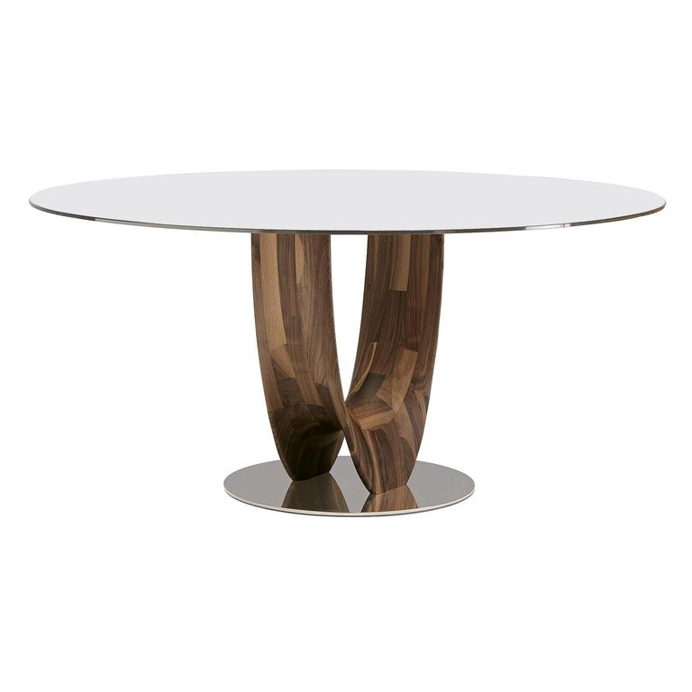 Axis Round Small Table with Bronzed Glass Top by Stefano Bigi by Pacini