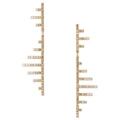 Eva Fehren Axis Stud Earrings in 18 Karat Rose Gold with Ombré Diamonds