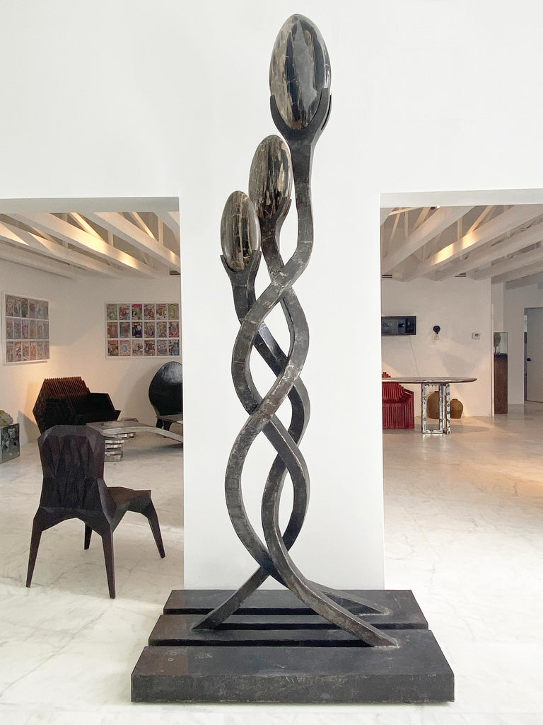 Inspired by a spiritual journey in the Peruvian Amazon, this sculpture depicts the elegant serpentine vines of the ayahuasca plant twisting toward the sky. A Quechua word meaning the