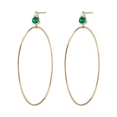 Ayda Hoops, Yellow Gold and Emerald Hoops