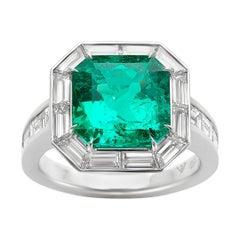 Aylin Aker Platinum Columbian Emerald & Diamond Ring
