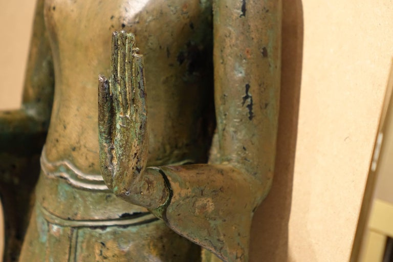 Ayutthaya Style Standing Bronze Figure of Buddha, Mid-17th Century, Thailand For Sale 5