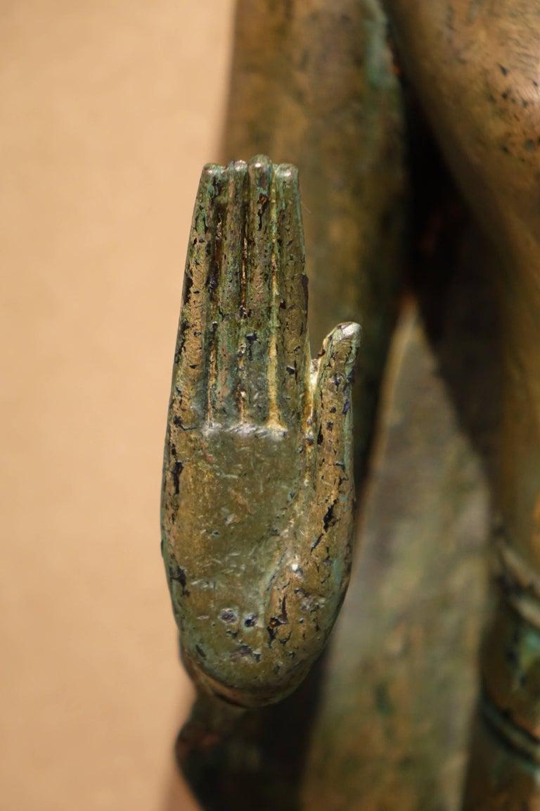 Blackened Ayutthaya Style Standing Bronze Figure of Buddha, Mid-17th Century, Thailand For Sale