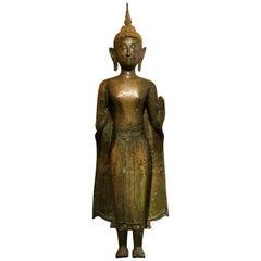 Ayutthaya Style Standing Bronze Figure of Buddha, Mid-17th Century, Thailand