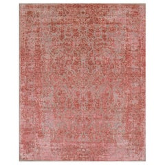 Persian wool and silk rug - Azadeh Rose Madder, Edition Bougainville