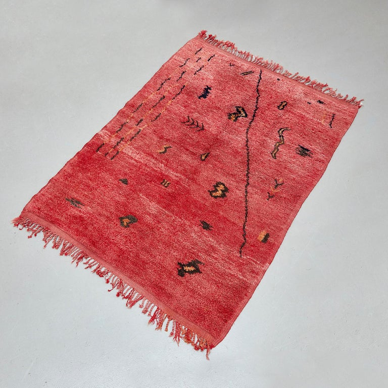 Azilal, Wool Hand Knotted, Chichaoua Moroccan Rug, circa 1970 For Sale 5