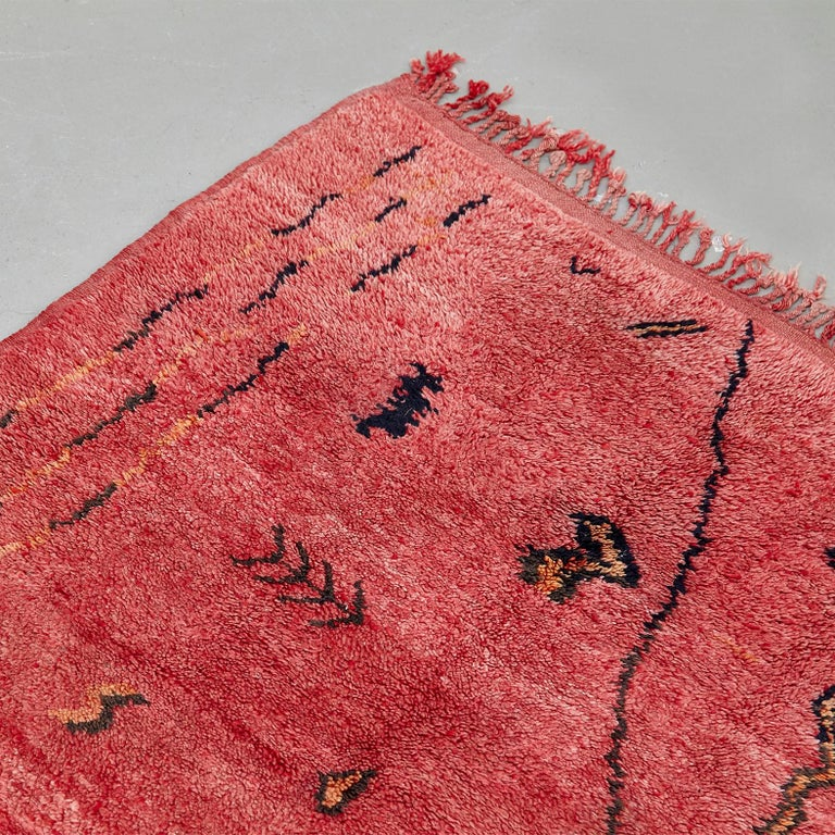 Mid-Century Modern Azilal, Wool Hand Knotted, Chichaoua Moroccan Rug, circa 1970 For Sale