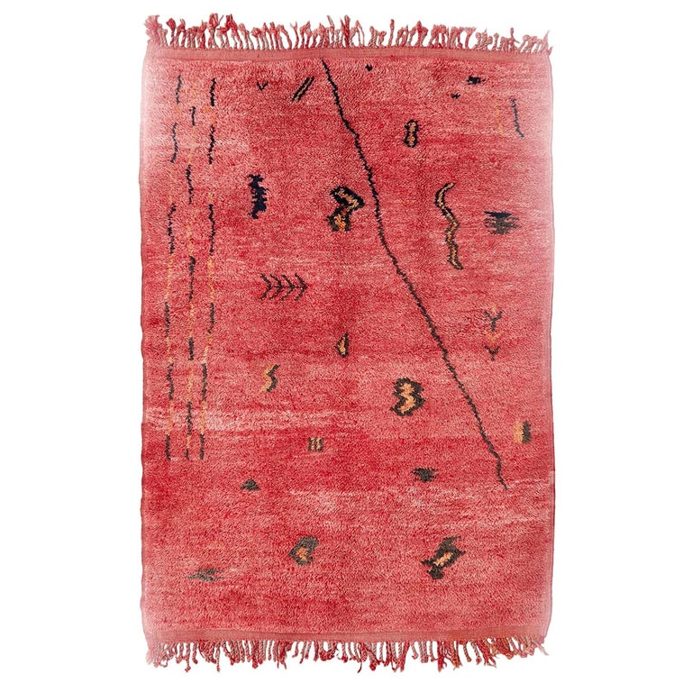 Azilal, Wool Hand Knotted, Chichaoua Moroccan Rug, circa 1970 For Sale