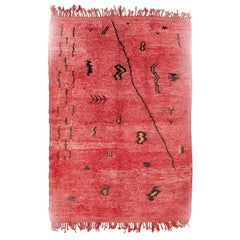 Azilal, Wool Hand Knotted, Chichaoua Moroccan Rug, circa 1970