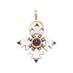 Aztec Cross Pendant with Garnet Points in Sterling Silver and 22 Karat Gold