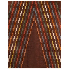 Aztec Design Geometrical Wool Rug, circa 1940s, Finest Quality Brown