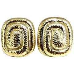 Aztec Inca South American Endless Maze Domed Hammered Rustic Earrings 18 Karat
