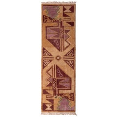 Aztec Inspired Runner Beige-Brown Maroon Tribal Rug by Rug & Kilim