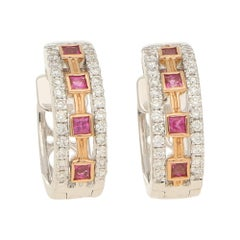 Aztec Style Pink Sapphire and Diamond Set Hoop Earrings