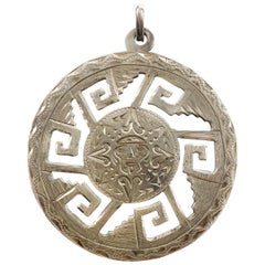 Aztec Style Design Silver Carved Round Pendant