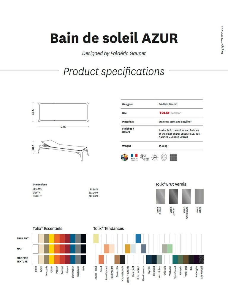 Azur Sunbed in Essential Colors by Frederic Gaunet & Tolix For Sale 2