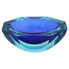Azure and blue Murano glass bowl, 1960s