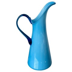 Azure Blue Over White Cased Venetian Glass Pitcher with Darker Blue Handle
