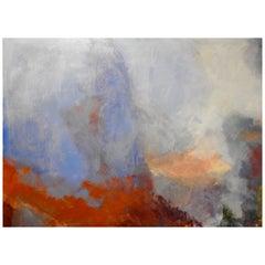 """Azure & Crimson"" Vibrant Rolling Hillside Expressionist Oil Painting"