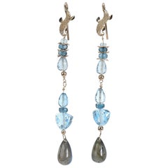 Azure Day: Shoulder Duster Earring-Blue Topaz Labradorite Artisan Gold