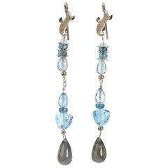 Azure Day Shoulder Duster Earring-Blue Topaz, Labradorite, Artisan Gold