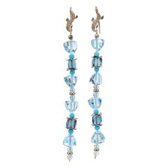 Azure Day Shoulder Duster Earrings, Topaz Turquoise Artisan Gold