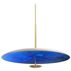 Azure Indigo Patinated Brass Pendant Light, Chandelier Ceiling Sculpture