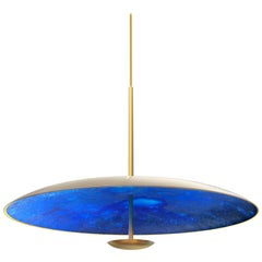 Azure Indigo Patinated Brass Pendant Ceiling Light, Chandelier