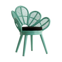 Azure Lacquered Flower Wooden and Rattan Armchair