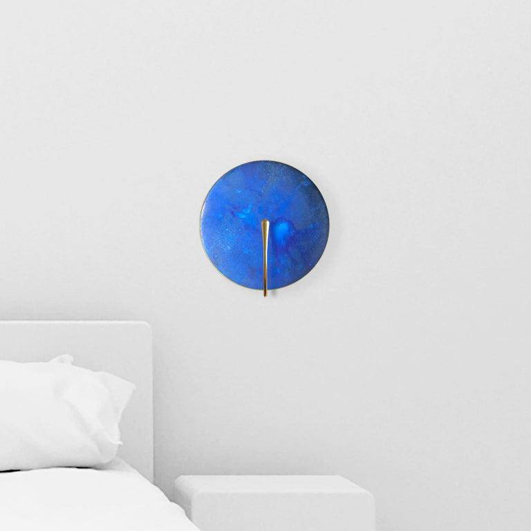 'AZURE' Indigo Patina Brass Contemporary Wall Light For Sale 1