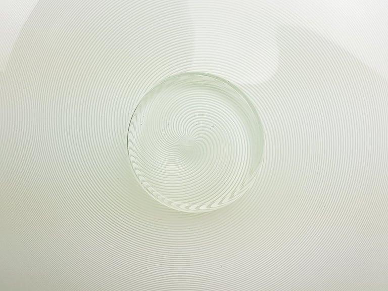 Azure, White & Clear Filigrana Murano Glass Centerpiece Venini Attributed, 1990 For Sale 4