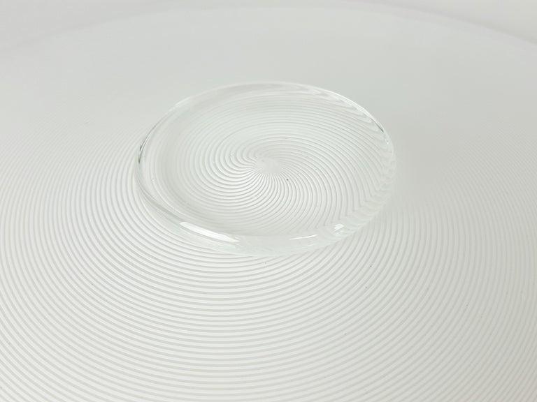 Azure, White & Clear Filigrana Murano Glass Centerpiece Venini Attributed, 1990 For Sale 5