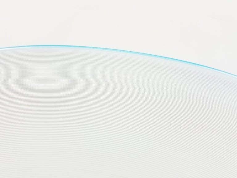 Azure, White & Clear Filigrana Murano Glass Centerpiece Venini Attributed, 1990 For Sale 6