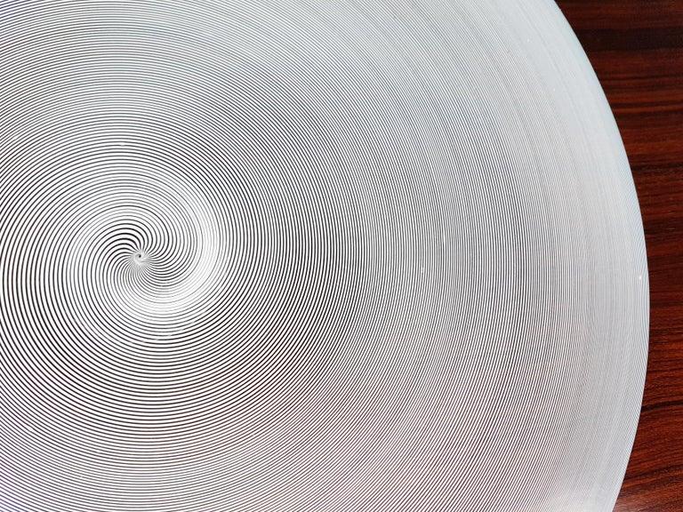 Azure, White & Clear Filigrana Murano Glass Centerpiece Venini Attributed, 1990 For Sale 9