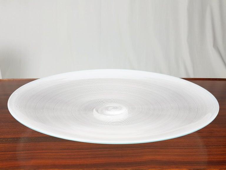 Mid-Century Modern Azure, White & Clear Filigrana Murano Glass Centerpiece Venini Attributed, 1990 For Sale